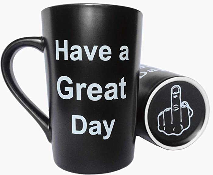 MAUAG Funny Christmas Gifts Unique Coffee Mugs Have a Great Day Cute Cool Ceramic Cup Black, Best Holiday and Birthday Gag Gifts, 12 Oz