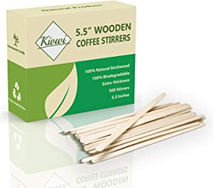 Disposable Wooden Beverage Coffee Stirrers, 5.5 Inches Stir Stick, Box of 500