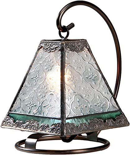 Small Lamp Tiffany Style Stained Glass Decorative Accent Night Light Table Top Vintage Home D cor Bedroom, Bathroom, Nursery Clear and Sage Green J Devlin Lam 559