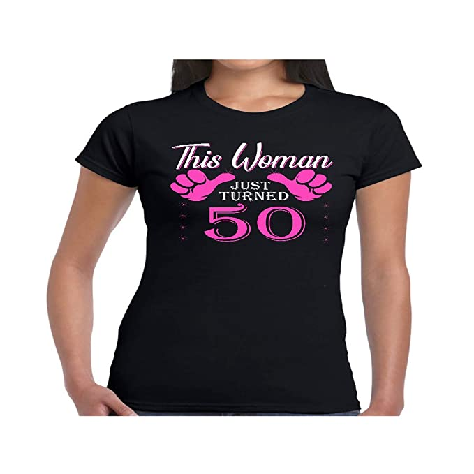 Amazon VintageAgesShirtsShop Womens 50th Birthday Gift For 50 Year Old This Woman Turned Shirt