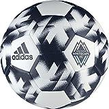adidas AZ3222 Vancouver Whitecaps Soccer Ball 5, White/Deep Sea