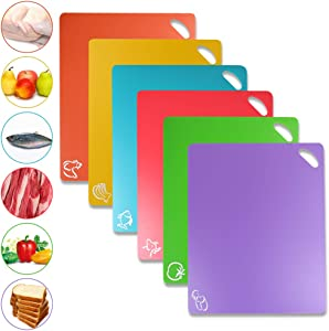 Flexible Cutting Board, Food Cutting Mat Color Coded with Food Icons Easy-Grip Handles Non-Slip Dotted Texture BPA-Free Chopping Mat Set For Kitchen Bar RV - Set Of 6