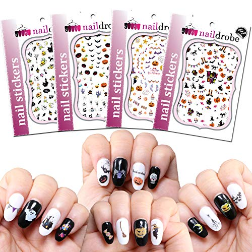 Naildrobe 4 Pack Premium Peel-N-Stick Halloween Nail Stickers]()