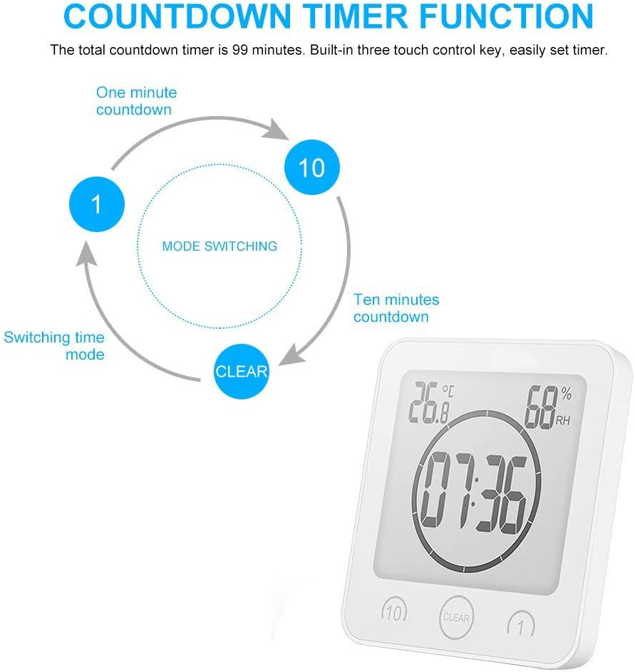 Red ZXS Clock Timers Wall Clock Indoor Thermometer Hygrometer for Bathroom Shower Makeup