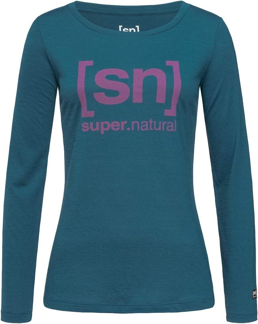 super.natural Bedrucktes Damen Langarm Shirt, Mit Merinowolle, W ESSENTIAL I.D. LS Blau/Rosa Logo