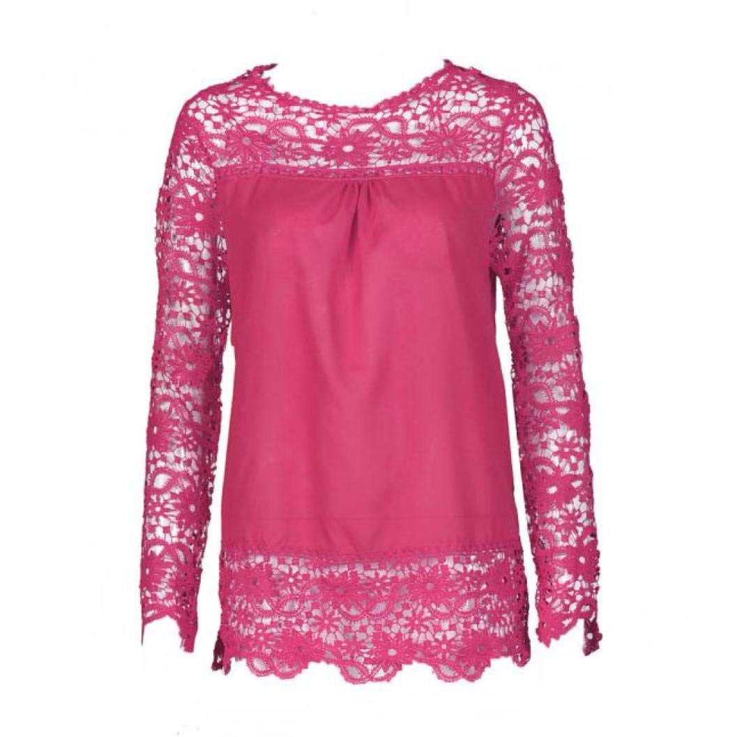 Women Plus Size Hollow Out Lace Splice Long Sleeve Shirt Casual Blouse Loose Top(hot red,Medium) by iQKA (Image #2)