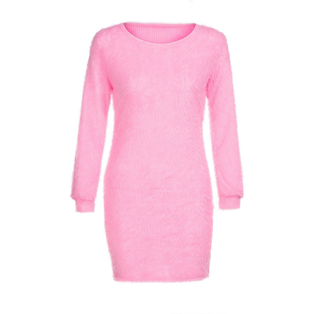 Dresses Holiday Women,Mlide Summer Long Sleeve Solid Sweater Fleece Warm Basic Short Mini Dress,Pink 2XL