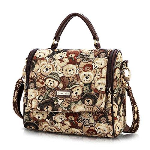 Women Fashion Cross Body Satchel Tote Bag (coffee)