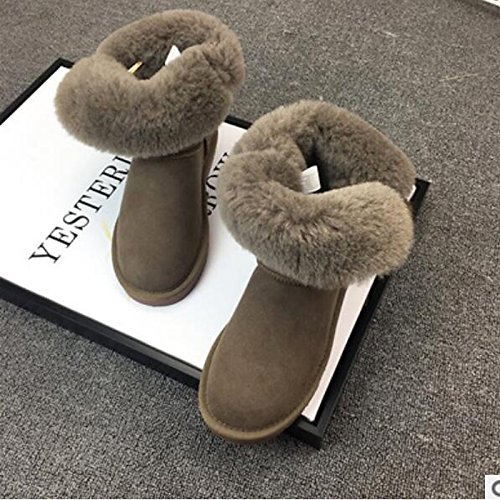 Booties Casual Shoes Winter Comfort Fall Pink for Round Women's HSXZ Nappa Pink Boots Flat Leather ZHZNVX Toe Boots Army Ankle Green fqw47xEX