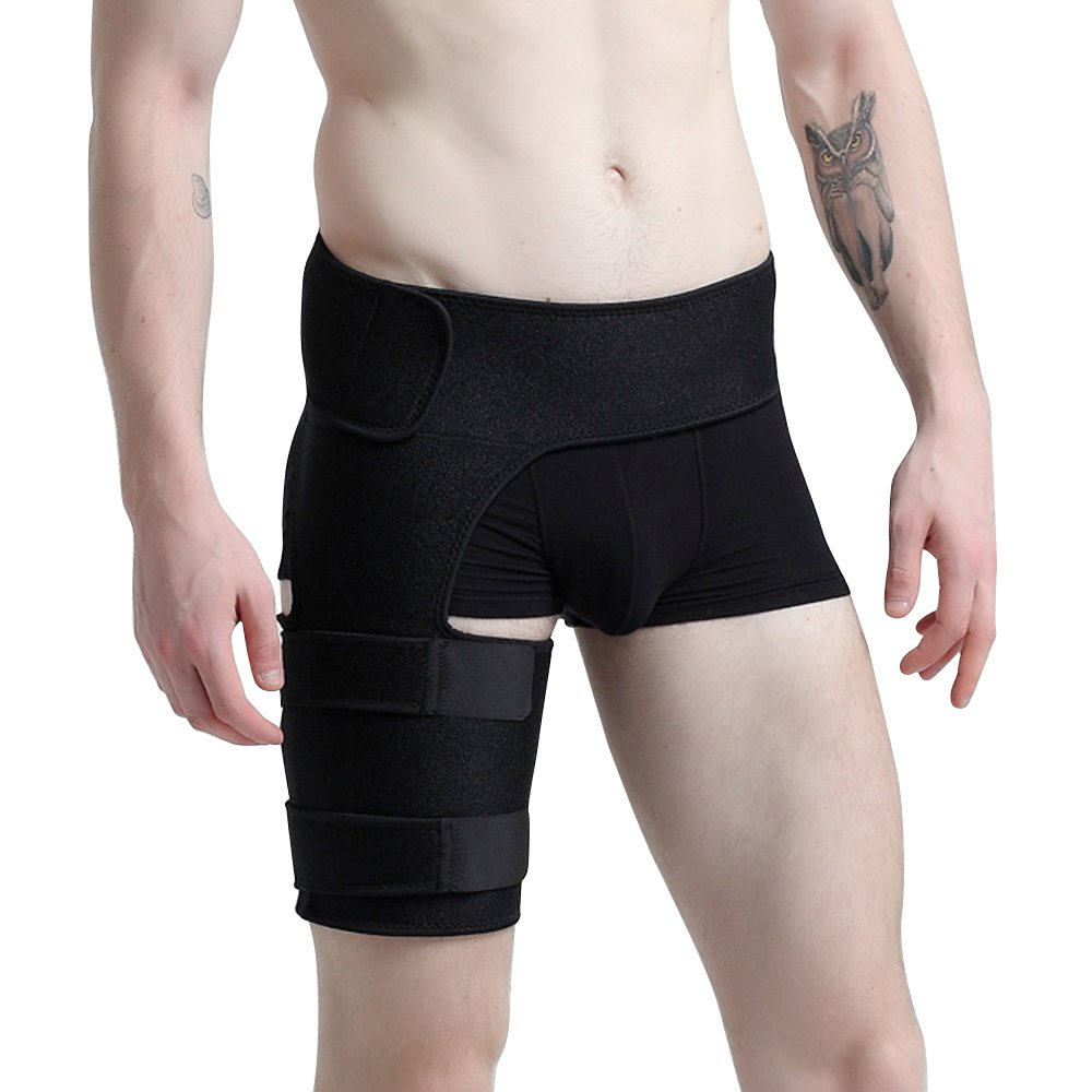 Groin Support Brace for Men and Women - Protector for Hip Groin Strain Quad Hamstring Thigh Pain Relief - Adjustable Compression Wrap #81141