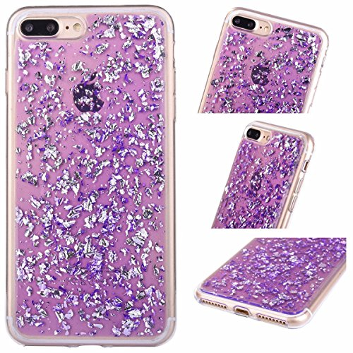 iPhone SE / 5 / 5s Foil Gold Embedded Flakes Clear Thin Luxury Glitter Leaf Bling Slim Fit Durable Protective Shockproof Flexible Accessories Case Apple Cover [Tpu Gel] By Tech Express (Purple)
