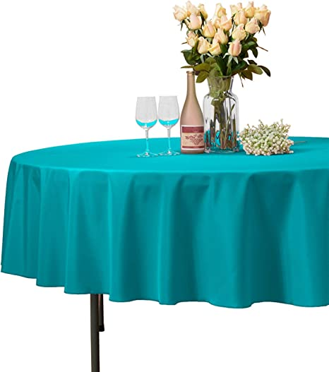Tablecloth 108-inch Round Solid Polyester For Restaurant Party Dining Baby Blue