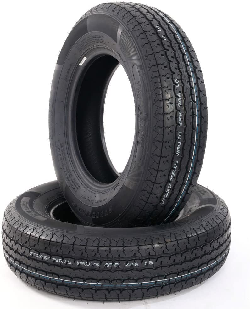 2PCS ST205-75R-15 Trailer Tire Load Range D TIRES 205 75 15 8PR Tubeless Tires