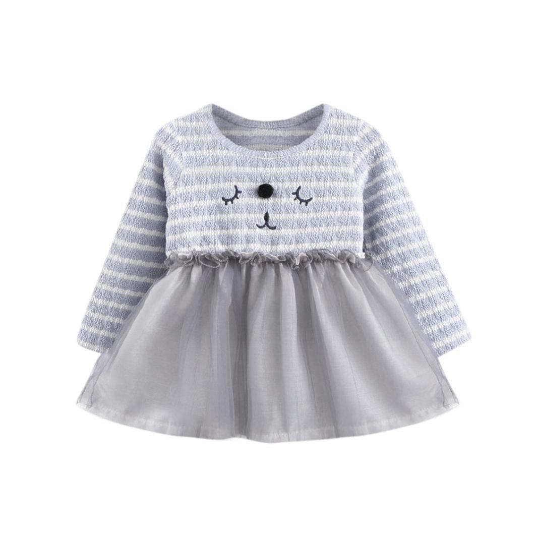 Chica Recién Nacido Tutú Princesa Vestido K-youth® Bebé Pequeño Gatito Rayado Vestido Manga Larga Ropa Bebe Niña Invierno