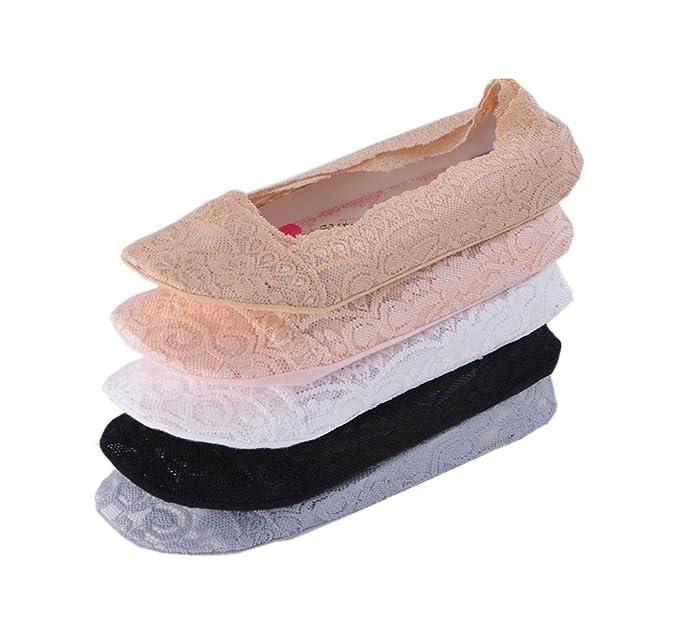 Tuopuda® 5 pares de Calcetín Invisible Mujer Silicona Talón Grip Calcetines del Cordón Antideslizantes de