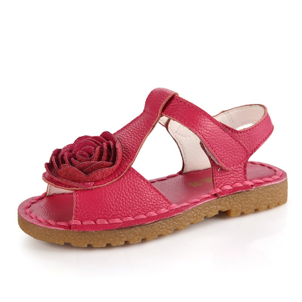 Navoku Leather Ankle Strap Flower Girls Sandles for Kids Sandals