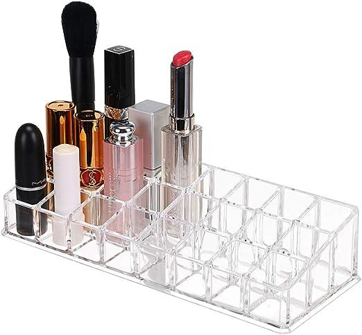 sunmnacon – Caja de almacenaje (Pintalabios Organizador de Maquillaje con 24 Compartimentos acrílico Transparente para pintalabios, Pincel, lápiz para Cejas,: Amazon.es: Hogar