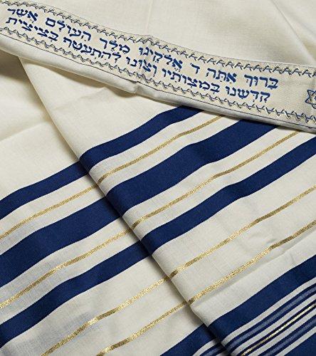 "100/% Wool Tallit Prayer Shawl in Blue  and Gold   Stripes Size 47/"" L X 68/"" W"