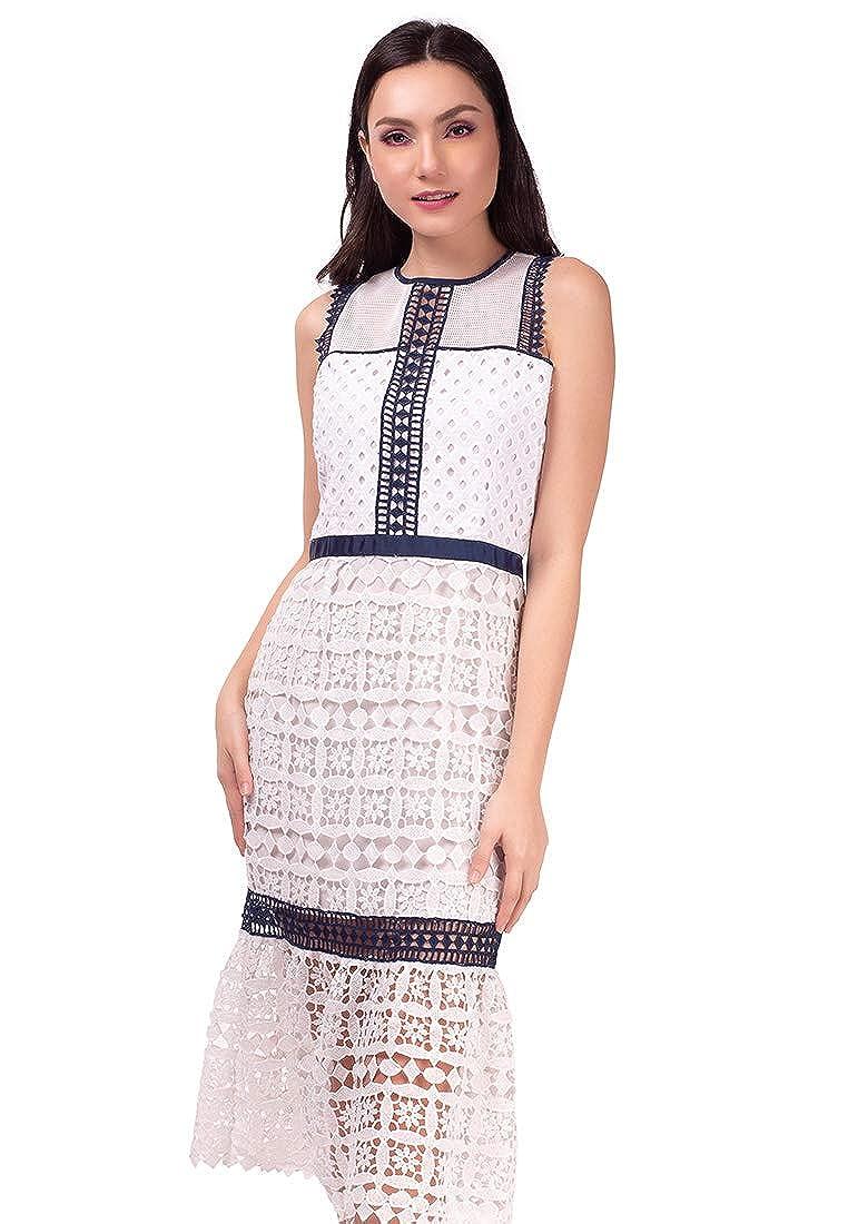 WHT NAVY Plains and Prints Womens  blueePeriod Sapphire Sleeveless Dress
