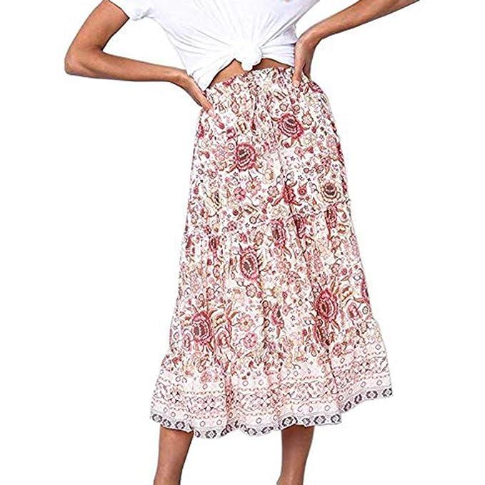 Faldas largas Bohemias Mujer Fiesta Elegante cóctel Vintage ...