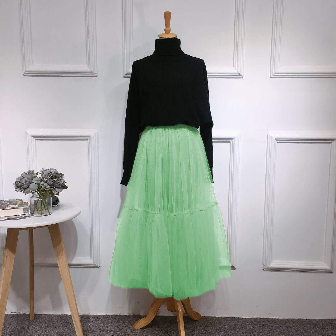 FOLOBE Womens Vintage Soft Tulle Petticoat A Line Long Prom Party Tutu Skirt