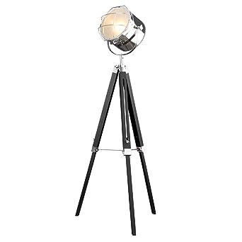 Vintage Stehleuchte TRIPOD Chrom Schwarz 150 Cm E27 Hhenverstellbar Stehlampe Dreibein Wohnzimmerlampe Scheinwerfer