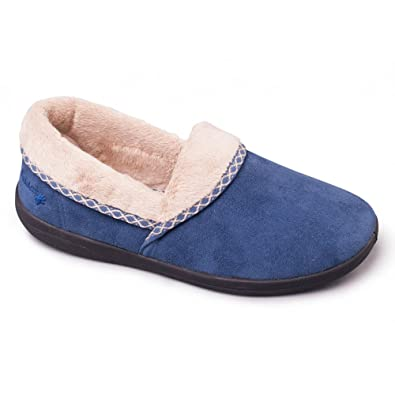 Padders Mellow Ladies Microsuede Fleece Extra Wide (EE) Fit Full Slippers Denim Blue
