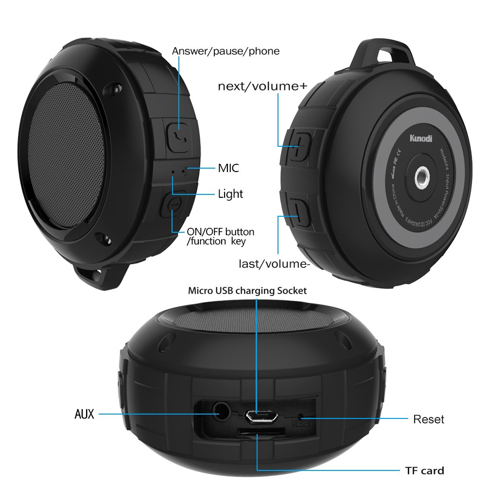 Outdoor Waterproof Bluetooth Speaker,Kunodi Wireless Portable Mini Shower Travel Speaker with Subwoofer, Enhanced Bass, Built in Mic for Sports, Pool, Beach, Hiking, Camping (Black) by Kunodi (Image #4)