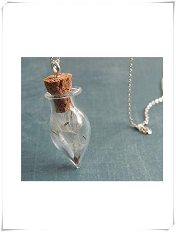 Colgante de diente de león, vial, botella de cristal collar ...
