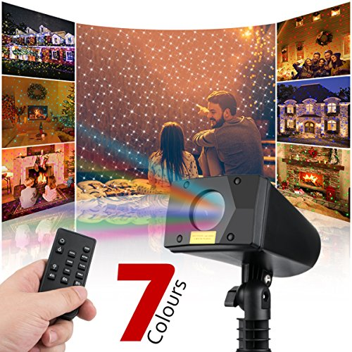 Christmas Laser Lights Outdoor Projector Lights with 7 Colors Motion Waterpoof Projection Lights with Star Moving and FR Remote for Holiday Garden by Starry (7 colors) by Starry