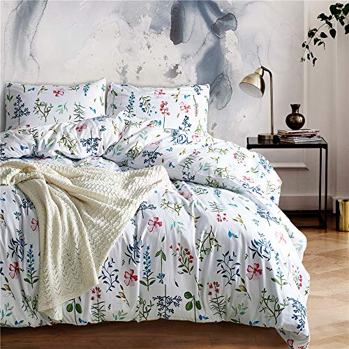 Floral Bedding - POMUED Bedding Duvet Cover Set,Full/Queen Polyester Floral Kid's Bedding Set Lightweight Breathable with Zipper Closure,Corner Ties Comforter Cover