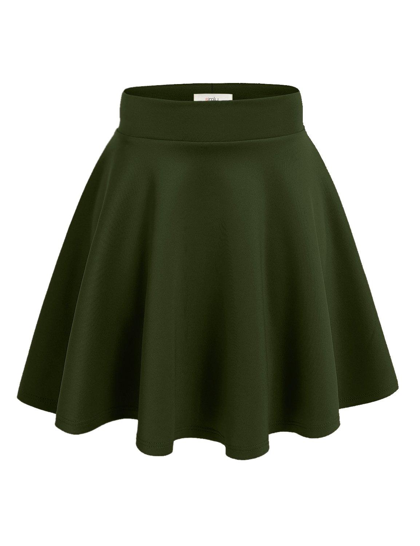 Simlu Women's A Line Flared Skater Skirt, Olive, XXX-Large
