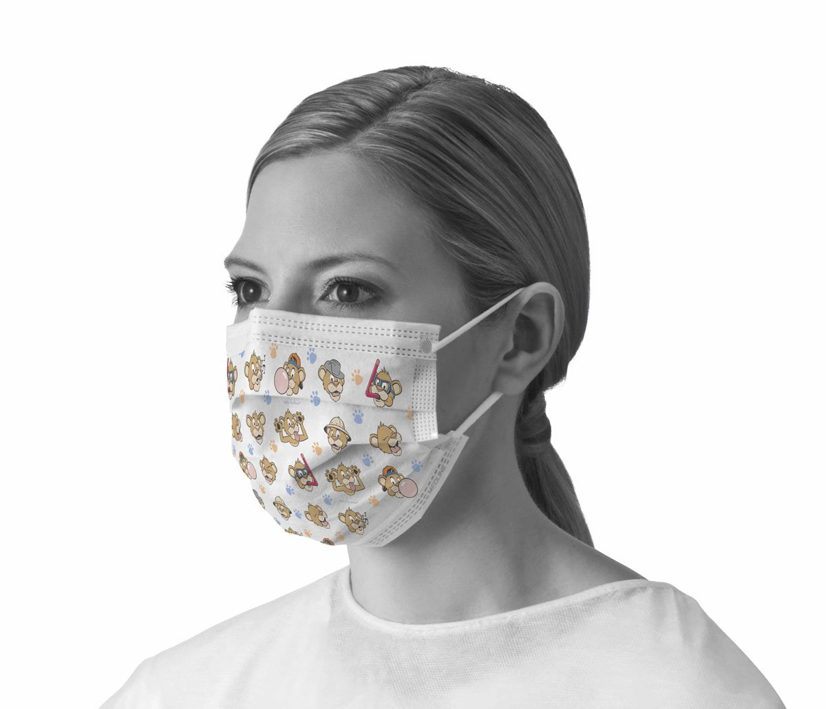 Medline NONBUDDYEL Pediatric Print Procedure Face Mask with Earloops, Polypropylene, Latex, Adult (Pack of 300) by Medline