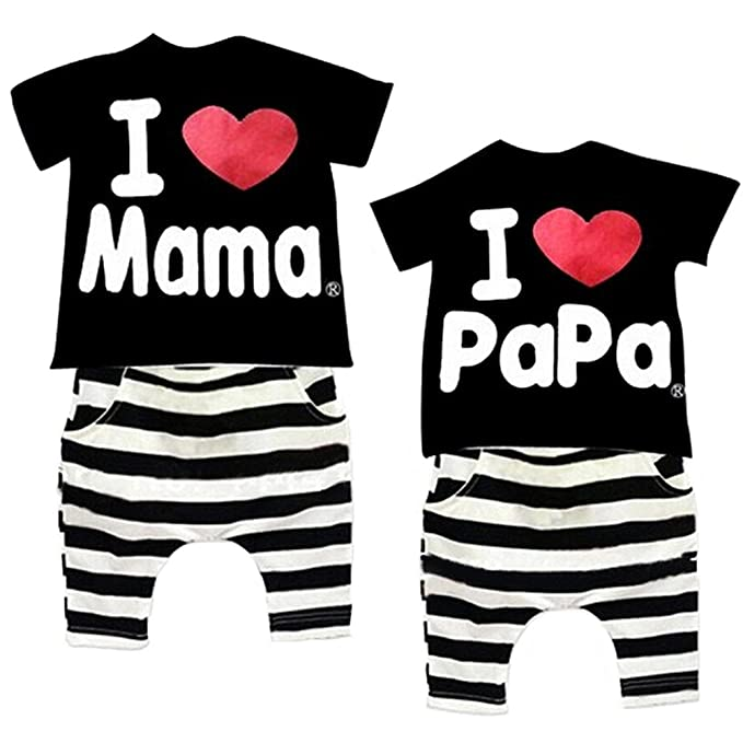 Saludable clubes 2 juegos Toddler Baby Boys camiseta rayas pantalones trajes