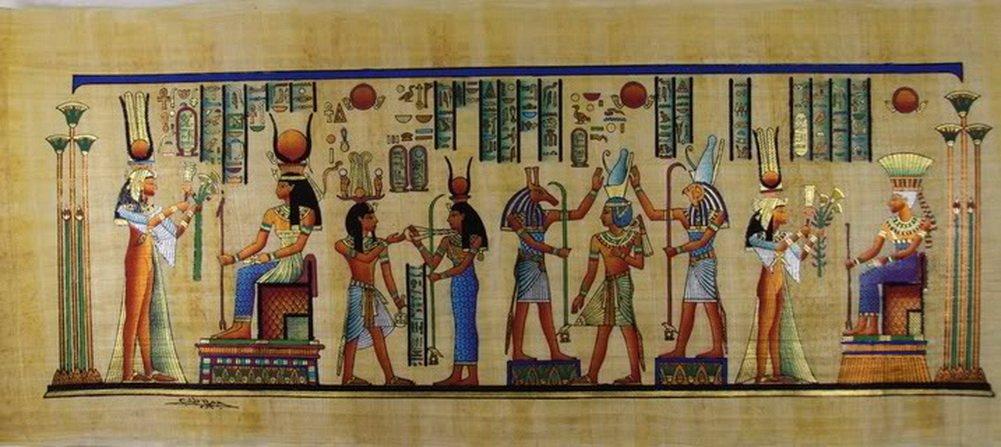 "100% Authentic Egyptian Original Hand Painted Painting Papyrus Paper Pharaoh Ancient 32""x12"" (80x30 cm) Pharaoh Horus Anubis Ramses Isis Hieroglyphic Scroll History Pharaohs Papyri Hieroglyphics"