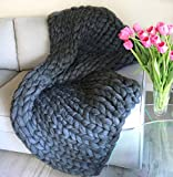 Ready to ship! Chunky arm knit blanket Giant merino wool blanket Super bulky heavy knitting throw Huge extreme arm knitted Thick yarn - 40x60 inches Charcoal/ Graphit