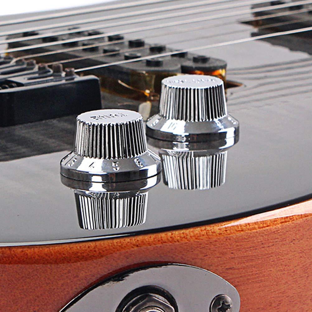 plateado HEALLILY Chrome Metal Color Top Hat Bell Perillas Presione la perilla de la guitarra bajo para ollas de 5.8 mm GD63