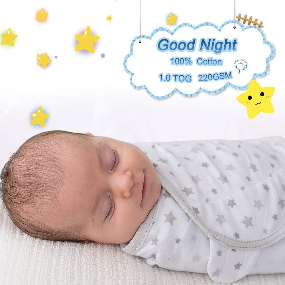 Baby Pucksack Wickel-Decke 220GSM 3er Pack Universal Verstellbare Schlafsack Decke f/ür S/äuglinge Babys Neugeborene 4-6 Monate 1.0 TOG