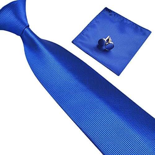 Alizeebridal Various Solids Mens Polyester Silk Tie Set Necktie+Hanky+Cufflinks