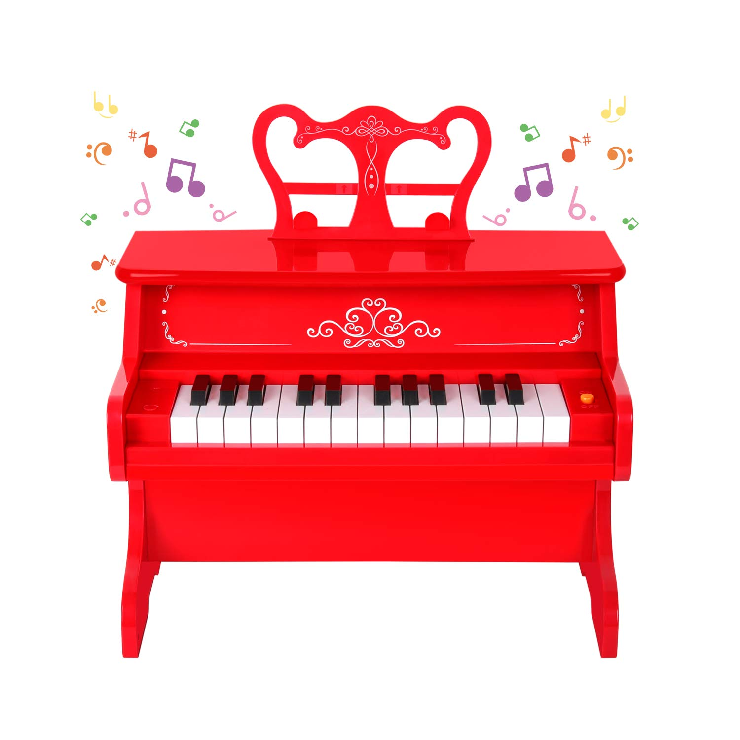 M SANMERSEN Kids Piano, 25 Full Size Keys Piano Keyboard Kids Educational Learn-to-Play Mini Piano Musical Instrument Keyboard Toy - Red