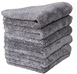 LANTEENSHOW (6-Pack 500gsm) 16x16 inches Professional Korea 80/20 Blend Super Ultra Plush Thick Microfiber Cleaning Towels For Car Wash,500 GSM Extra Black border (16x16 Inches Grey color)