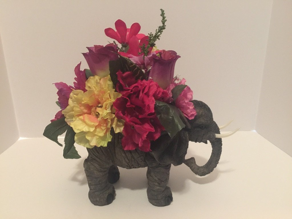 ANIMAL FUN - ELEPHANT VASE - PINK, YELLOW, WHITE, GREEN, PURPLE MIXED FLORAL