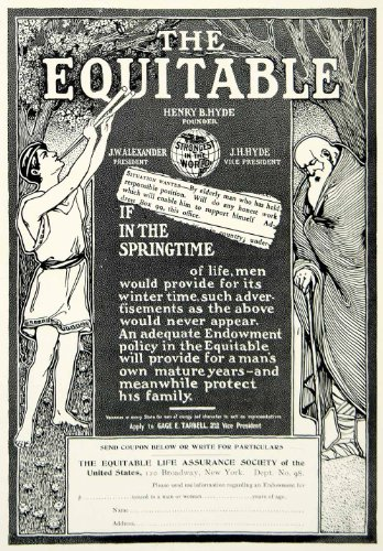 1903 Ad Equitable Life Insurance Banking Art Nouveau 120 Broadway Nyc Finance   Original Print Ad
