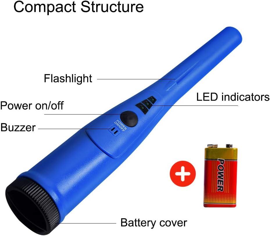 mit Holster hohe Genauigkeit im Lieferumfang enthalten wasserdicht mit Scan um 360 Grad 9 V Batterie tragbar Pinpointer Metalldetektor f/ür Metalldetektor