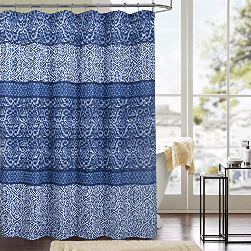 RT Designers Collection Clermont Printed Canvas 13-Piece Shower Curtain Set, 70 x 72 inch, White/Blue