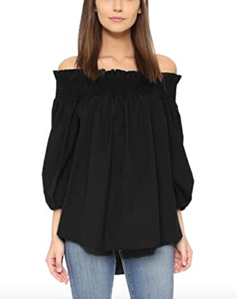7a6e62b03a427 ZANZEA Women s Plus Size Off Shoulder 3 4 Sleeve Loose Long Tops Blouse  Shirt Black