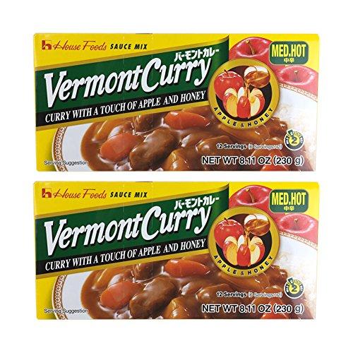 House Foods Vermont Curry [ 2 Packs ] Medium Hot 8.11 Oz (230g)