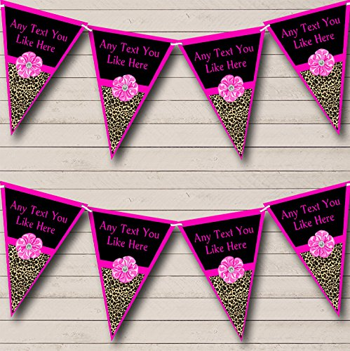 Leopard Print Bright Pink Bow Personalized Birthday Party Bunting Banner Garland ()