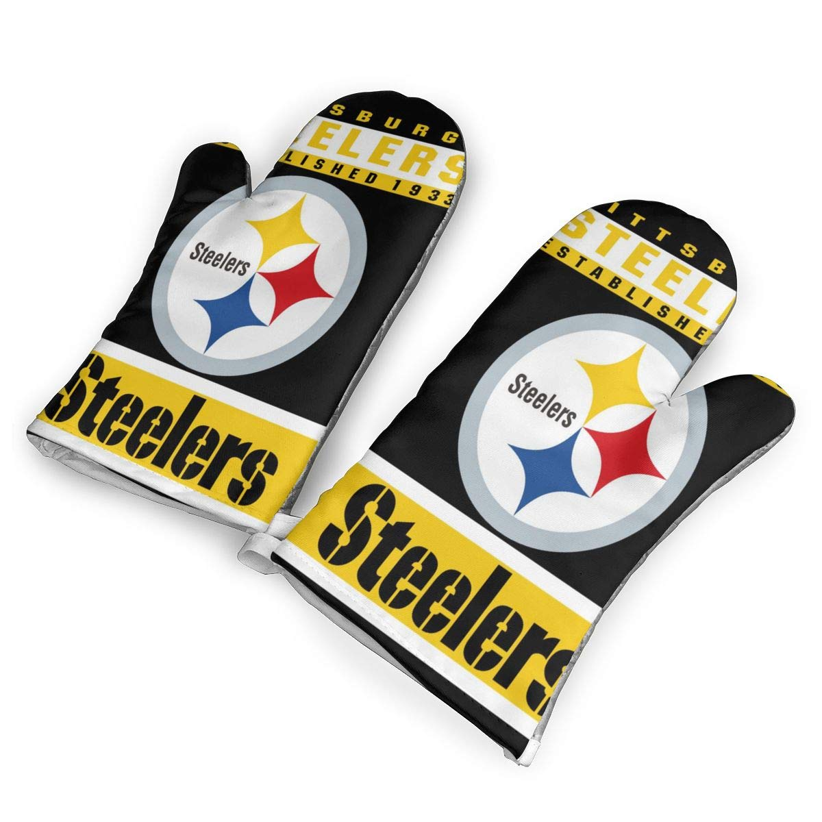 not Pittsburgh Steelers Oven Mitts with Polyester Fabric Printed Pattern,1 Pair of Heat Resistant Oven Gloves for Cooking,Baking,Grilling,Barbecue Potholders