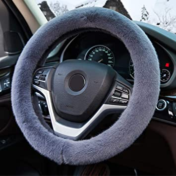Lenkradbezug Auto Plüsch Zatooto Lenkradbezug Warm Für Winter 37 38cm Anti Rutsch Universal Sanft Grau Auto
